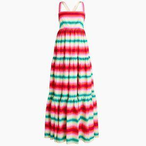 New J Crew Bright Stripe Tiered Maxi Dress Size 6